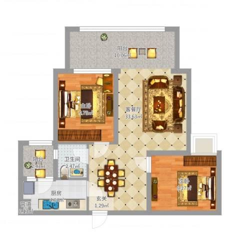 英郦庄园・曼城2室2厅1卫1厨78.00㎡户型图
