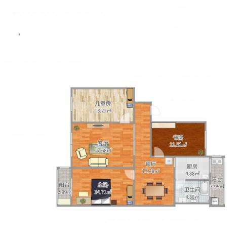 育德楼3室2厅1卫1厨98.69㎡户型图