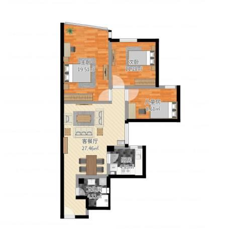 东园高层公寓3室2厅1卫1厨95.00㎡户型图