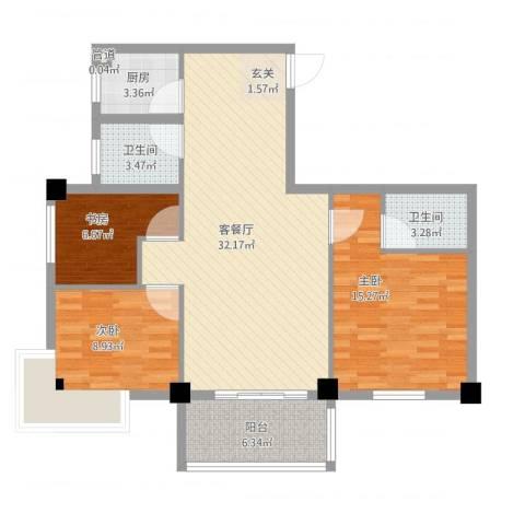 芝兰新城3室2厅2卫1厨112.00㎡户型图