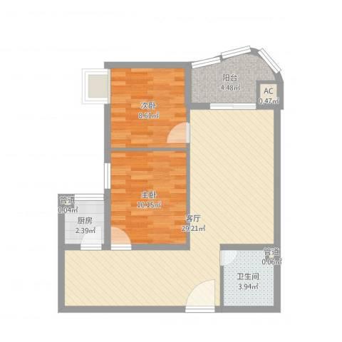 新街坊佳兴园2室1厅2卫3厨74.00㎡户型图