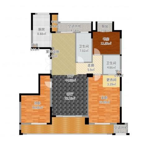 新湖保亿御景国际3室1厅2卫1厨179.00㎡户型图