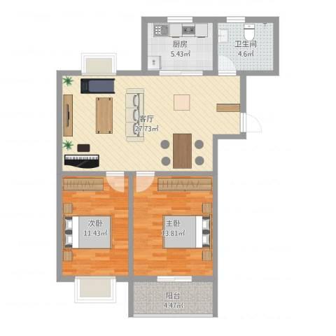 洪福小区三期2室1厅1卫1厨95.00㎡户型图