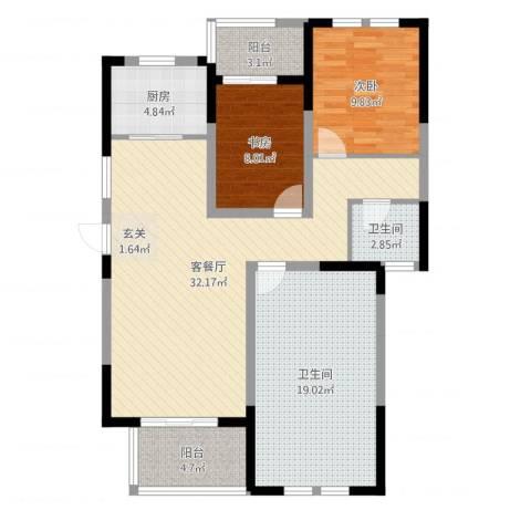 临商水岸明珠2室2厅2卫1厨106.00㎡户型图