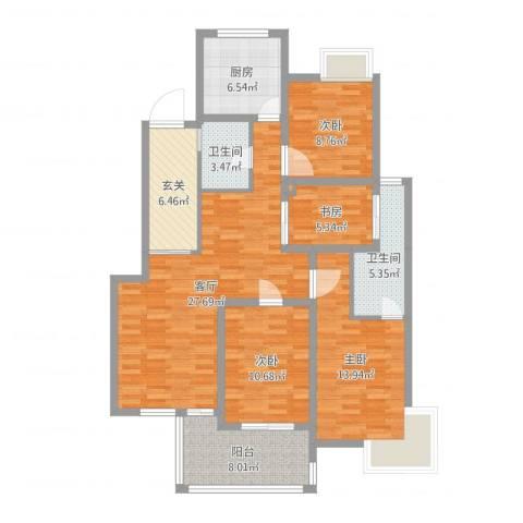 蓉湖壹号4室1厅2卫1厨120.00㎡户型图
