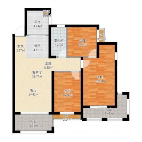 大学里三期3室2厅3卫2厨108.00㎡户型图