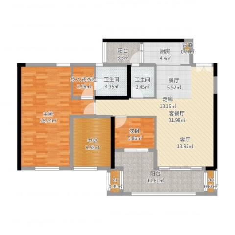 珑湖湾东岸2室2厅2卫1厨130.00㎡户型图