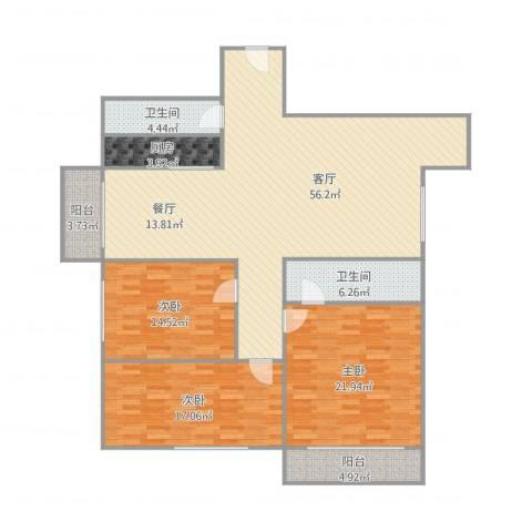 侨晶花园3室1厅2卫1厨178.00㎡户型图