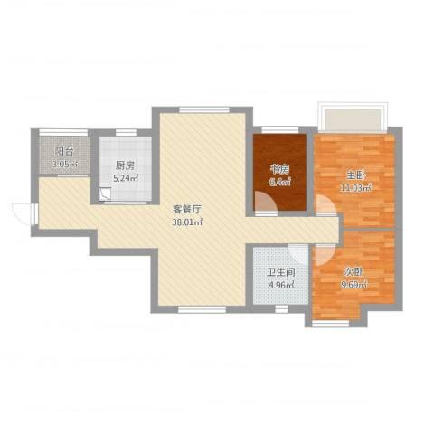 都市兰亭3室2厅1卫1厨98.00㎡户型图