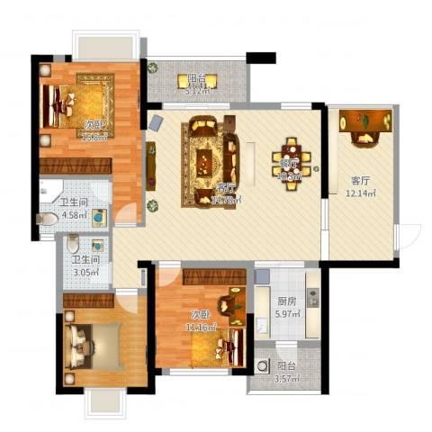 大亚湾龙光城106m²2室2厅2卫1厨132.00㎡户型图