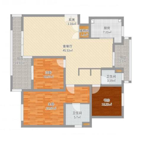 星屿仁恒3室2厅2卫1厨152.00㎡户型图