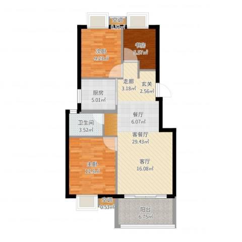 香水郡3室2厅2卫2厨103.00㎡户型图