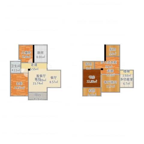 人才公寓2室2厅7卫1厨161.00㎡户型图