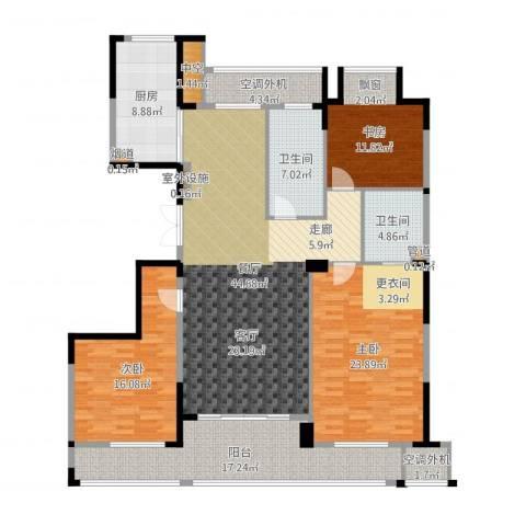 新湖保亿御景国际3室1厅2卫1厨178.00㎡户型图