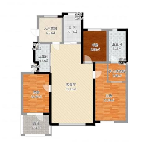 听雨观澜3室2厅2卫1厨138.00㎡户型图