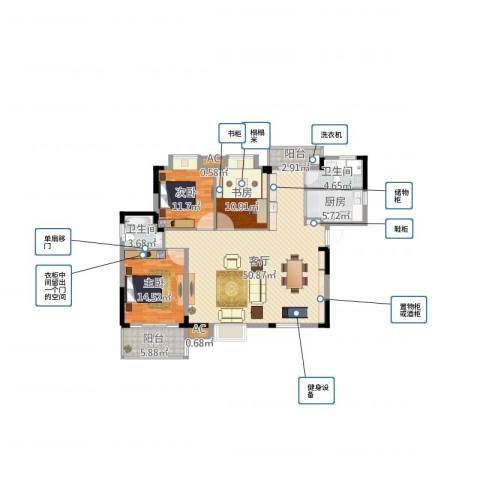 黄州宇济一号3室1厅2卫1厨140.00㎡户型图