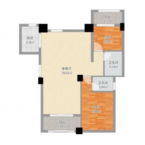 侨成金沙城2室2厅2卫1厨79.18㎡户型图