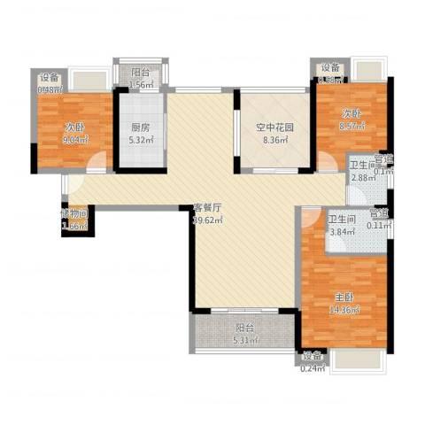 东莞长安万达广场3室2厅2卫1厨146.00㎡户型图
