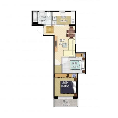恒高家园2室1厅1卫1厨59.00㎡户型图