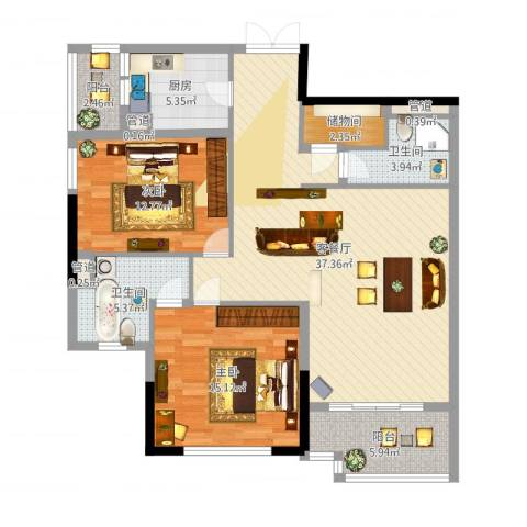 滨江19332室2厅2卫1厨114.00㎡户型图