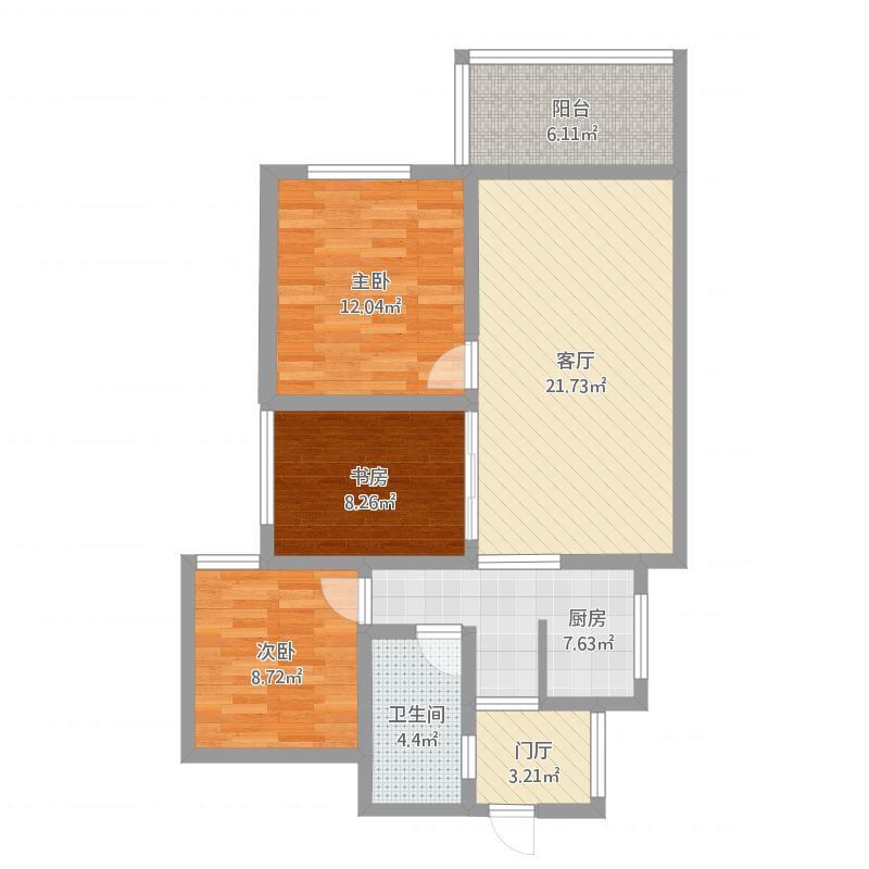 104平米三室俩厅一厨一卫