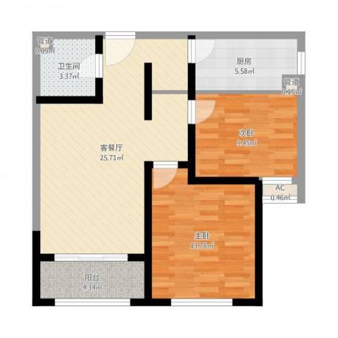 财富公馆2室2厅1卫1厨79.00㎡户型图