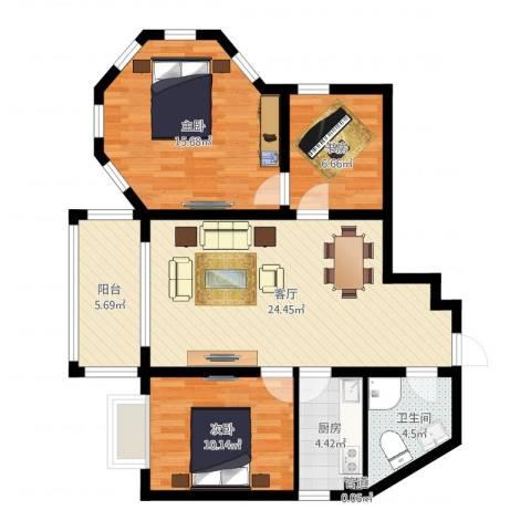 远大明珠3室1厅1卫1厨89.00㎡户型图