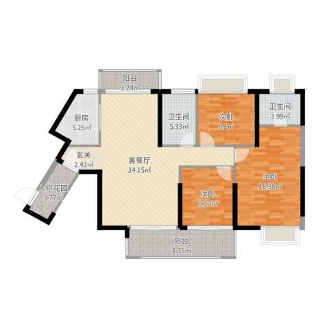 景新・国际3室2厅2卫1厨127.00㎡户型图