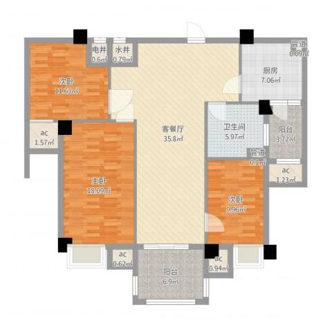 安阳碧桂园3室2厅1卫1厨131.00㎡户型图