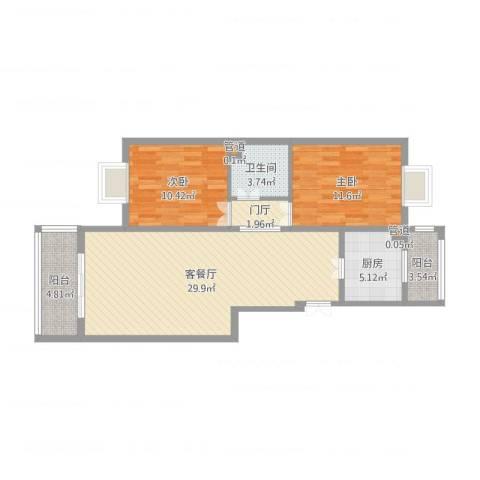 港馨家园(祁女士)2室2厅3卫1厨100.00㎡户型图