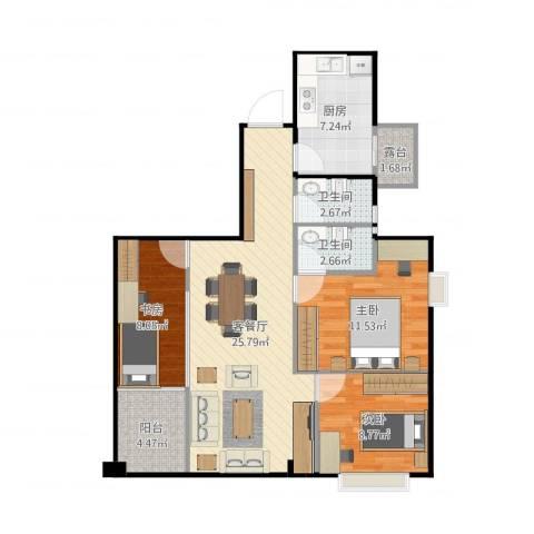 万达广场公寓3室2厅2卫1厨91.00㎡户型图