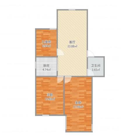 九州理想城3室1厅1卫1厨87.00㎡户型图