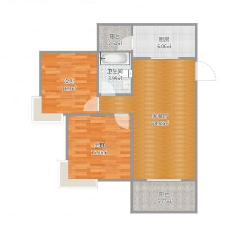 广州亚运城天誉2室2厅1卫1厨82.00㎡户型图