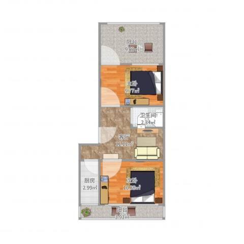 青塔芳园2室1厅1卫1厨69.00㎡户型图