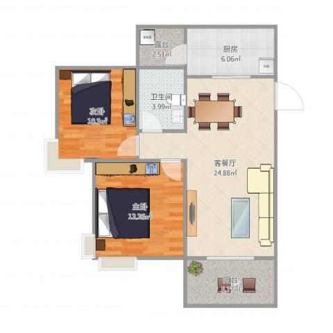 广州亚运城天誉2室2厅1卫1厨89.00㎡户型图