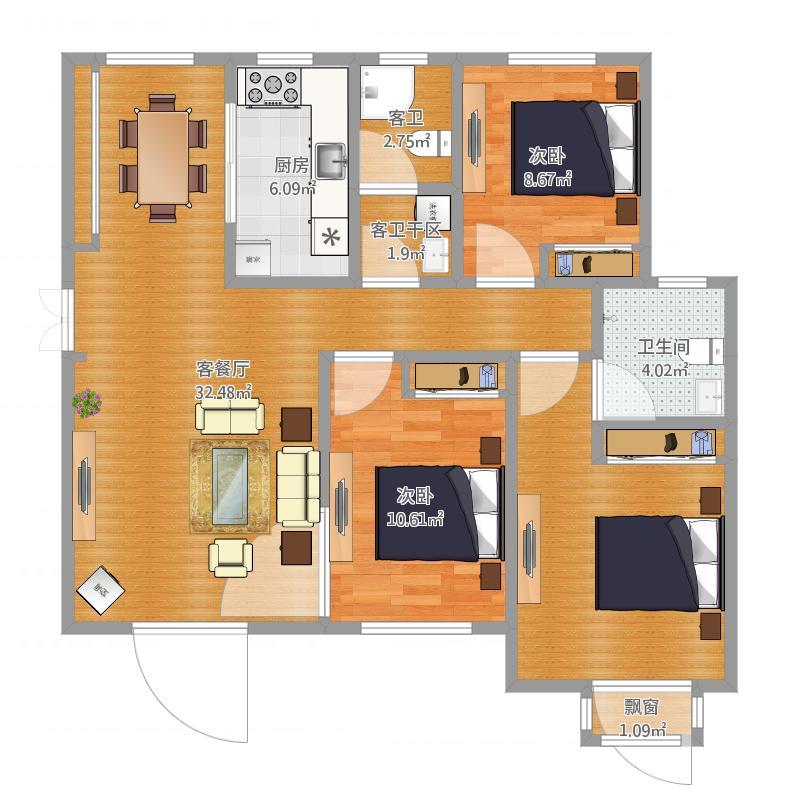 恒丰·理想城三室两厅两卫11A