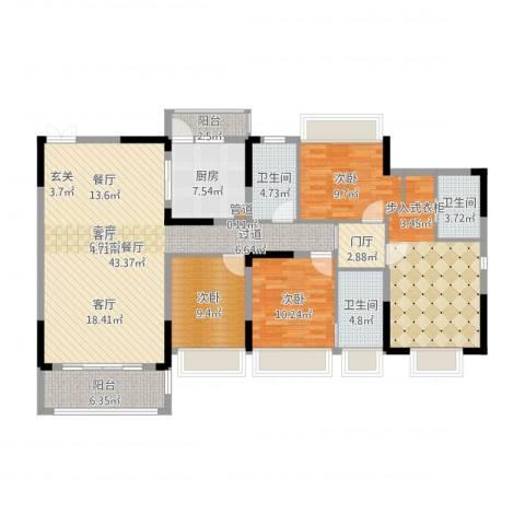 美丽湾畔花园3室2厅5卫1厨153.00㎡户型图