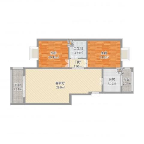 港馨家园(祁女士)2室2厅3卫1厨88.00㎡户型图