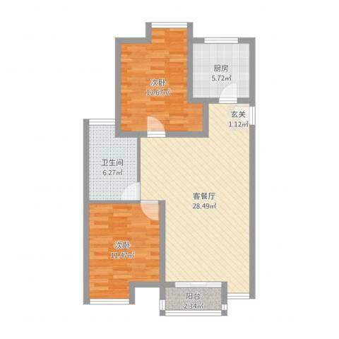 廊坊金玉源2室2厅1卫1厨84.00㎡户型图