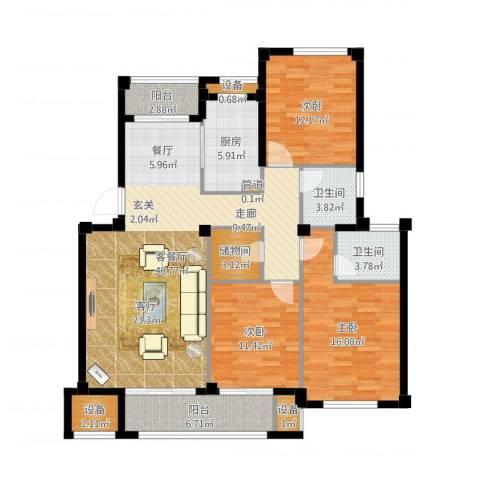 天一名都3室2厅2卫1厨138.00㎡户型图