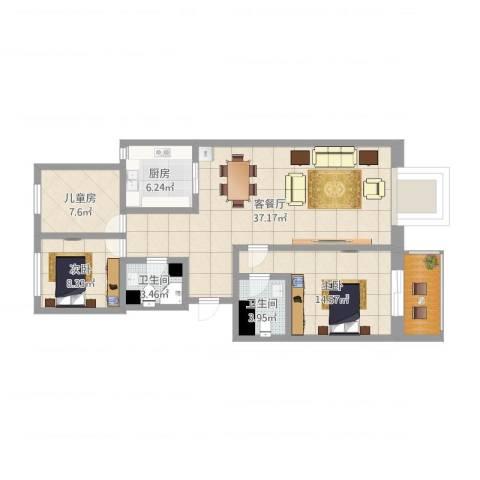 盂县南关幸福家园3室2厅2卫1厨107.00㎡户型图
