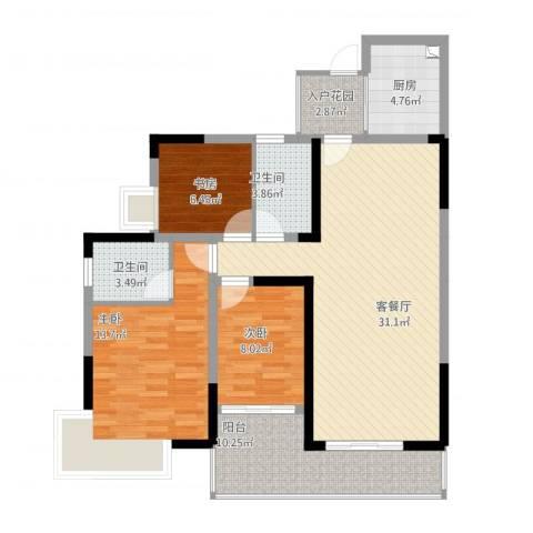 金山湖卧龙传说3室2厅2卫1厨122.00㎡户型图