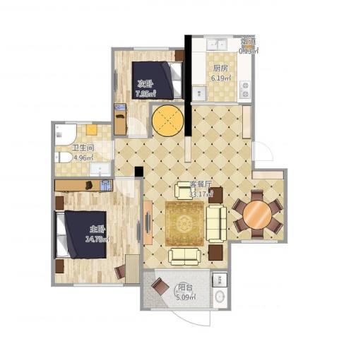 人才公寓2室2厅1卫1厨90.00㎡户型图