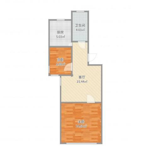 银宏新村2室1厅1卫1厨55.00㎡户型图