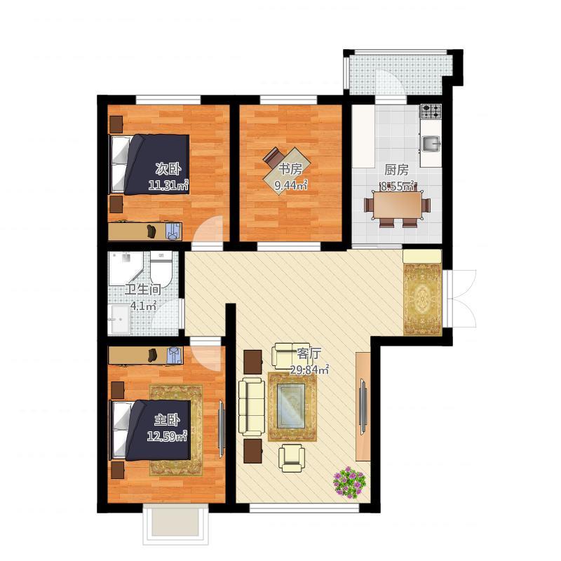远大·都市明珠11号楼2单元01户型(2)