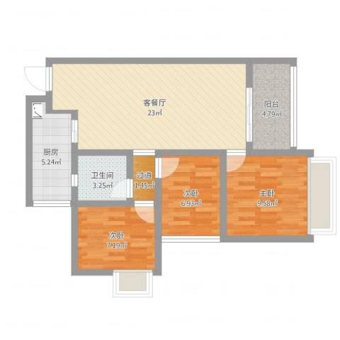 天安数码城1-2043室2厅2卫1厨77.00㎡户型图