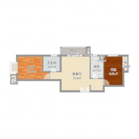上京新航线2室2厅1卫1厨71.00㎡户型图