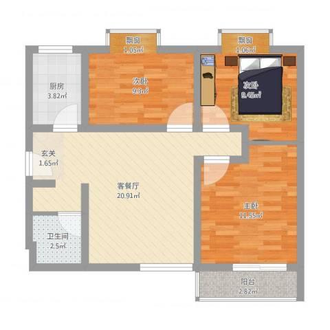 华韵新天地3室2厅1卫1厨75.00㎡户型图