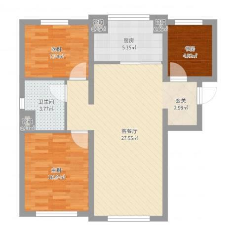 万科海港城3室2厅1卫1厨74.00㎡户型图