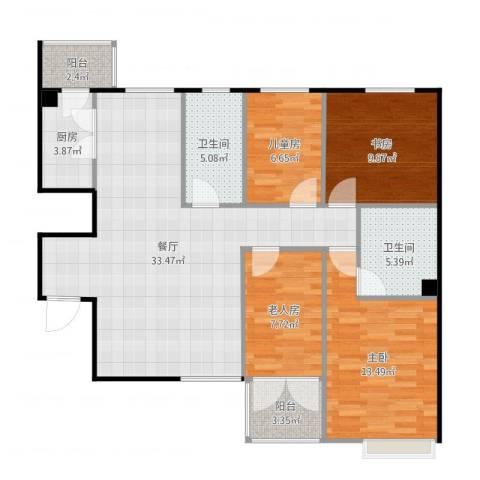 融富中心4室1厅2卫1厨91.28㎡户型图